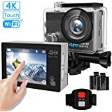 Tintec Action Camera, 4K Touchscreen Sports DV WiFi Ultra HD Camcorder/16MP 170°Wide Angle/2 LCD/2Pcs 1050mAh Batteries/2.4G Remote/30m Waterproof for Diving Swimming Skiing and Cycling