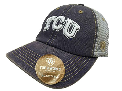 horned frogs tow purple gray past mesh adjustable slouch hat cap authentic tcu baseball stack