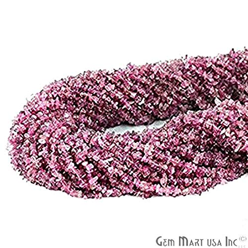 GemmartUSA Pink Tourmaline Chip Beads Natural Stone Beads 1 Strand 34 Inch Jewelry Making Supplies (CHTO-70001)