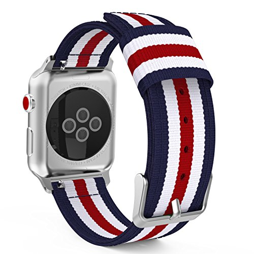 MoKo Compatible Band Replacement for Apple Watch 42mm 44mm Series 5/4/3/2/1, Fine Woven Nylon Adjustable Replacement Wristband Strap - Blue & White & Red (Not fit 38mm 40mm Versions)