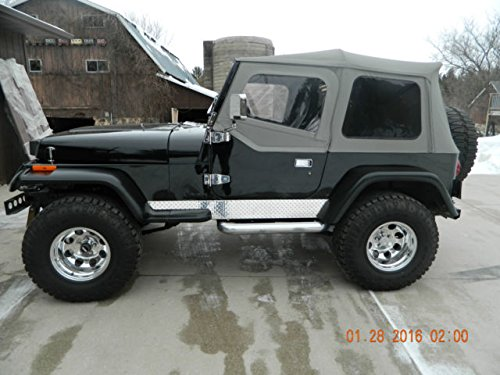 1987-1995 Jeep YJ Wrangler Diamond Plate Side Rocker Panel 6 INCHS Wide with Cut Outs for Fender Flares and EXTENTIONS