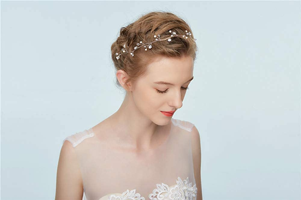 Dohuge Blumen Haarschmuck Vintage Braut Rebe Stirnbander Strass