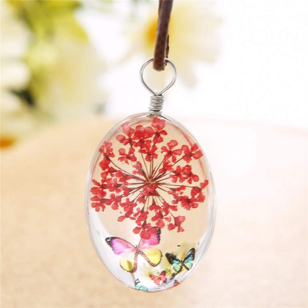 wangzz Collar De Mariposa Colgante De Vidrio con Cadena Cuerda De Cuero 18 Pulgadas Collar De Mujer Accesorios De Joyería Romántica