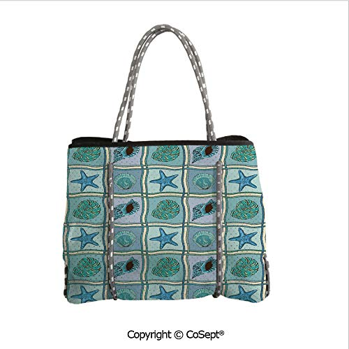 Holiday Patchwork Tote - Waterproof Beach Bag,Marine Patchwork Inspired Pattern with Ropes Starfishes and Seashells Print,Perfect Tote Bag For Holidays(14.9