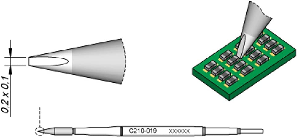 0.2mm x 0.1mm C210-019 JBC Tools Chisel Soldering Cartridge