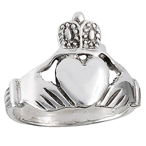 Large Claddagh Ring - Sterling Silver Unisex Large Claddagh Ring Size 9