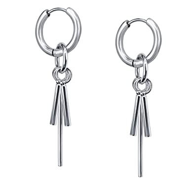 8549676066120 Korea Style Stainless Steel Hoop Earrings Circle Tassel Drop Dangle Earring  Feather Cross Earrings for Women Men