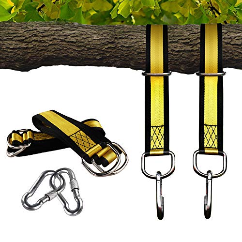 Egofine Tree Swing Straps Hanging Kit -5 FT Long Holds 2000lbs with 2 Snap Carabiner Hooks for Outdoor Swing and Hammocks, Yellow