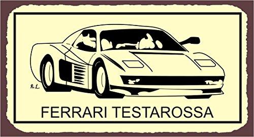 Ferrari Testarossa Vintage Metal Art Automotive Retro Tin Sign