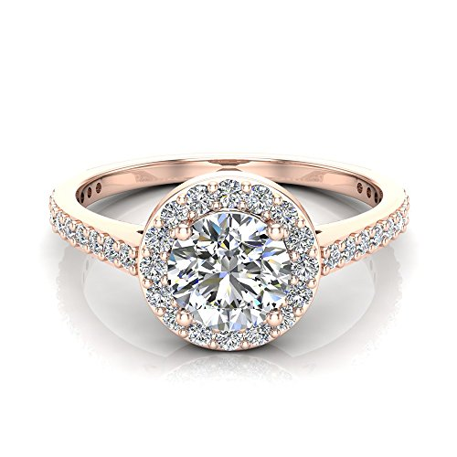 1.15 ct tw Round Brilliant Diamond Dainty Halo Engagement Ring 14K Rose Gold (Ring Size 6)