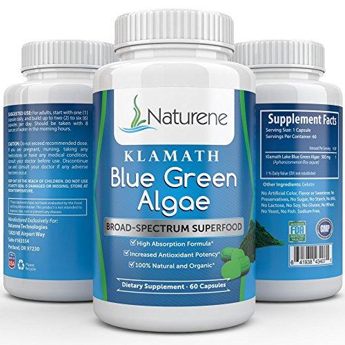 Naturene Klamath Blue Green Algae - Energy and Focus Superfood with More Potency Than Spirulina or Chlorella - High Absorption Formula - 500 mg - 60 Capsules (Green Superfood High Energy compare prices)