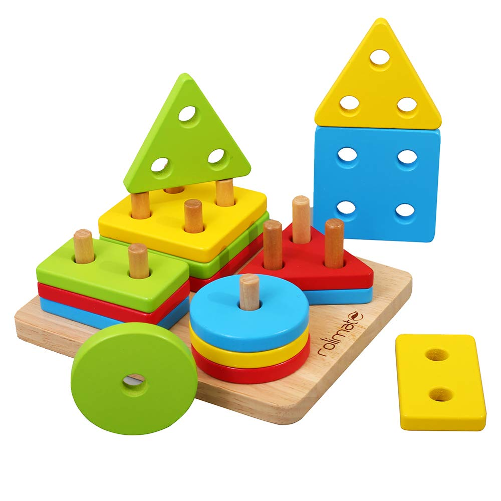 80c1eeebe9ff1 rolimate Wooden Educational Shape Color Recognition Geometric Board Block  Stack Sort Chunky Puzzle Toys