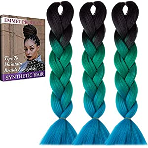 "Emmet Jumbo Braiding Synthetic Hair 100g/pc 24"" Long Kanekalon African Braids Hair Extension, with Hair Care Ebook (24"", 3 Pack, Ombre Color 43)"