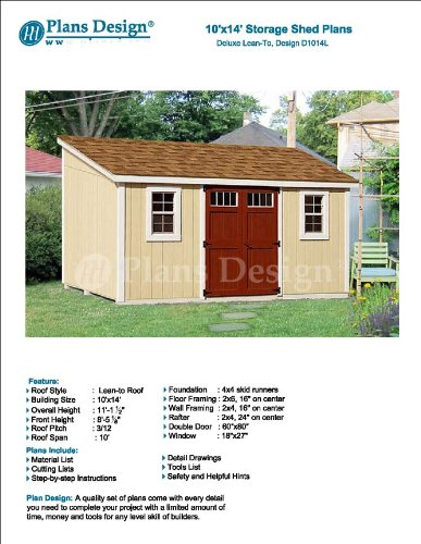Lean To Roof Style 10\' x 14\' Deluxe Shed Plans Design # D1014L ...