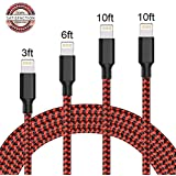 MaoGe Lightning Cable,iPhone Cables 4Pack 3FT 6FT 10FT 10FT to USB Syncing Data and Nylon Braided Cord Charger for Apple iPhone 8, X, 7, 7 Plus, 6, 6s, 6+, 5, 5c, 5s, SE, iPad, iPod Nano (Black Red)
