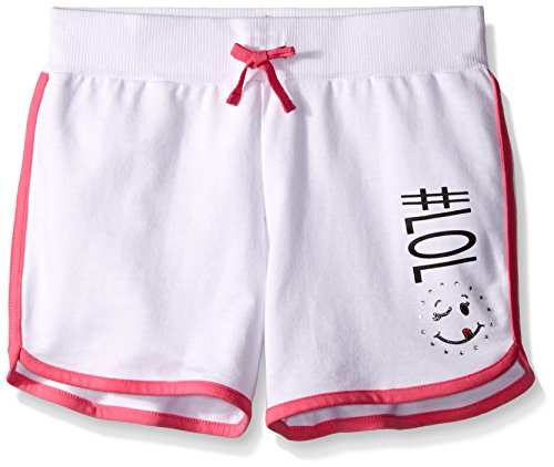 Dreamstar Dream Star Big Girls French Terry Dolphin Short With Screen and Contrast Piping, White/Bright Pink, - Bright Terry Shorts