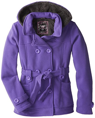 Girls Sherpa Lined Jacket (YMI Big Girls'  Seasonal Belted Fleece Jacket with Hood, Purple,)