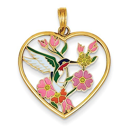 14k Yellow Gold Colorful Enameled Hummingbird with Flowers Heart Pendant