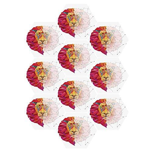 C COABALLA Geometric Durable Hexagon Ceramic Tile Stickers,Lion Head Art Geometric Graphic in Digital Triangle Rainbow Pattern Retro Decor for Living Room Kitchen,9