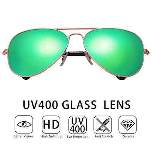 O-Let Mirrored Womens Mens Aviator Sunglasses Girls Boys Aviators UV400 Glass Lens with Gift Case - Sunglasses 2017 Kid Graduation