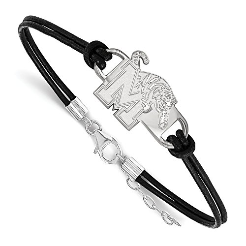 925 Sterling Silver Officially Licensed University College of Memphis Leather Bracelet Small Center (7 in) by Unknown