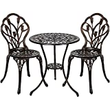Vanteriam Outdoor Patio Furniture Cast Aluminum 3 Piece Bistro set in Bronze- Two Chairs and One Table w/Umbrella Hole (Tulip Design) For Sale