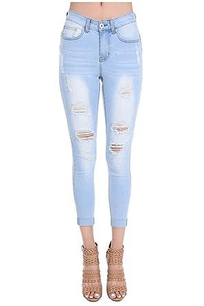 1524c6ac6f84 muselooks Denim Women's Juniors Distressed Slim Fit Stretchy Skinny ...