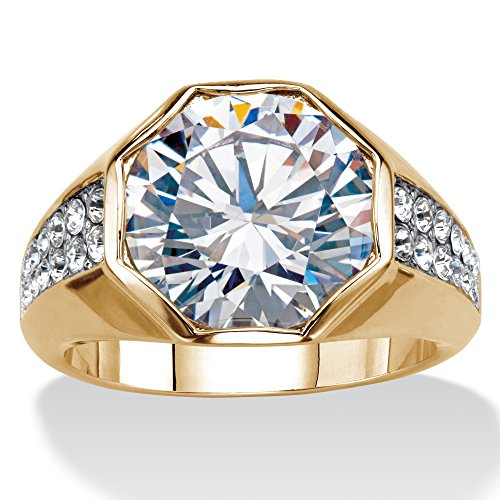 Palm Beach Jewelry Mens Round White Cubic Zirconia 14K Gold-Plated Octagon Ring