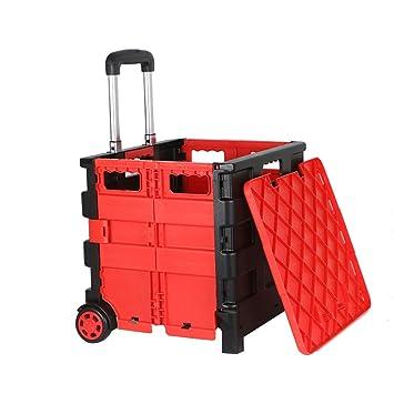 QIANGDA-Carros Carrito Compra Plegable PP Plástico Puede Sentarse Caja De Almacenaje Varilla Telescópica con