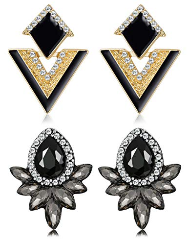 Finrezio 2 Pairs Triangle Teardrop Crystal Stud Earring for Women Vintage Fashion Rhinestone Geometric Earrings (Black & Gold Tone)