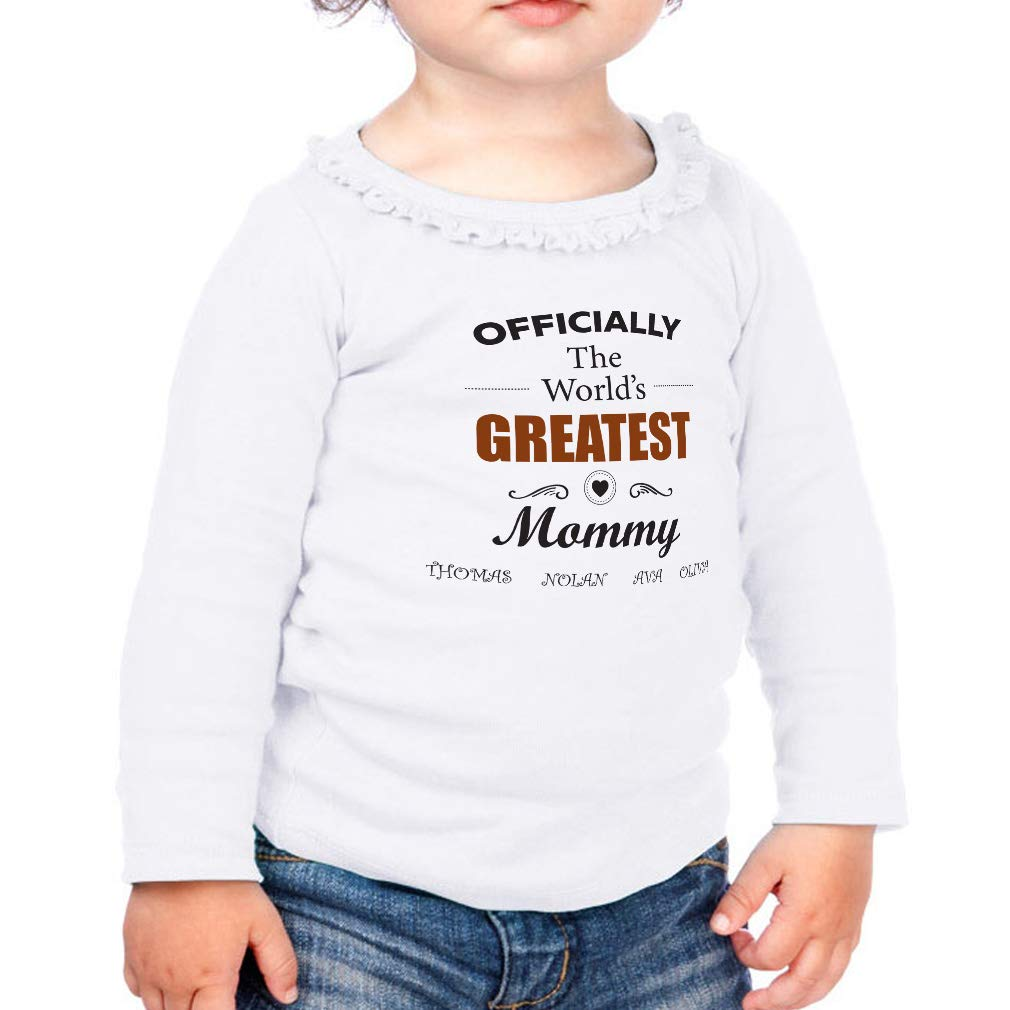 Worlds Greatest Mommy Cotton Girl Toddler Long Sleeve Ruffle Shirt Top