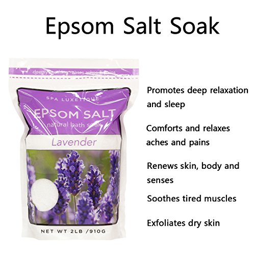 Spa Luxetique Premium Epsom Salt for Foot Soak, 2 lbs Magnesium Sulfate USP Bath Salt Formula, Sleep Well with Calming Lavender Essential Oil by spa luxetique (Image #1)