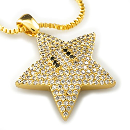 NIV'S BLING - 18k Yellow Gold-Plated Cubic Zirconia Mario Star Pendant with 1.5mm, 30