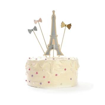Amazoncom Eiffel Tower Paris Cake Topper Bow Cake Topper Paris