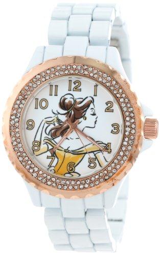Disney Women's W001001 Belle White and Rose Gold Enamel Watch