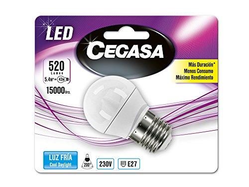Cegasa Bombillas LED con Luz Fría 5000K E27, 5.4 W, Blanco 78x45x45 cm: Amazon.es: Iluminación