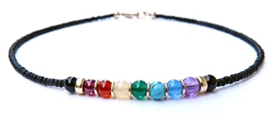 DAMALI Chakra Anklet Sterling Silver Gemstone Balancing Healing Crystal Anklet rexSm6IjJ