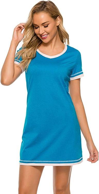 Jamron Mujer Suave Algodón Manga Corta Camiseta Vestidos Verano Casual Ropa de Casa Salón: Amazon.es: Ropa y accesorios