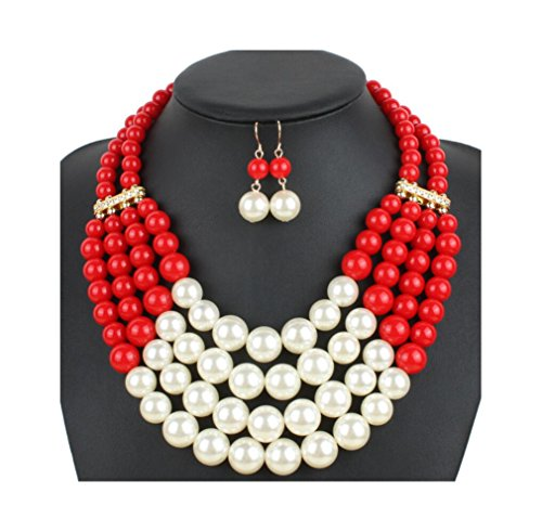 Lanue Women Fashion Jewelry Set Pearl Bead Cluster Collar Bib Choker Necklace and Earrings Suit (Red)