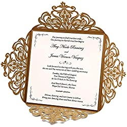 Wishmade Gold Square Lace Laser Cut Wedding Invitations Kits With Floral Cards for Birthday Bridal Shower Marriage Engagement with Envelopes Seals (pack of 50pcs)