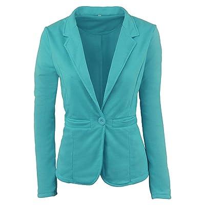 Abrigo de Chaqueta de Manga Larga y Corte Slim Casual para Mujer Talla Grande Outwear (Color : Verde, tamaño : Small): Hogar