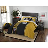7 Piece NFL Pittsburgh Steelers Comforter Set Full Size, Dorm Sports Fan Bedding, National Football League Themed Featuring Team Logo Printed College Unisex Sport Fans Bedroom, Yellow Black Multicolor