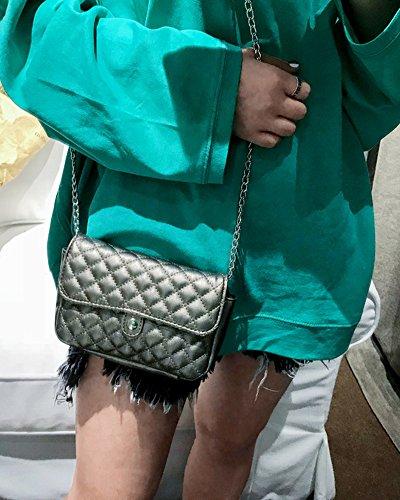 Cinghia Donna Pelle Ferro Tasca In Mini Tracolla Grigio Catena Portafoglio AfqwxA