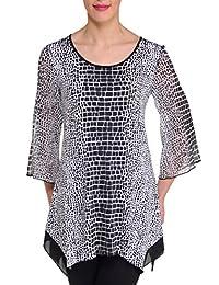 Nygard Women's Plus Size Slims 3/4 Bell Sleeve Tunic White/Black