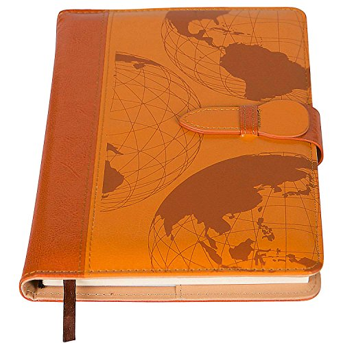 Refillable Writing & Travel Journal | World Map Quality Journal | Secure Clasp + Pen Loop | 200 Lined Pages, 5 x 8 Inches for Travel, Personal, Poetry | Tan | Back to School (Bonded Leather Travel Wallet)