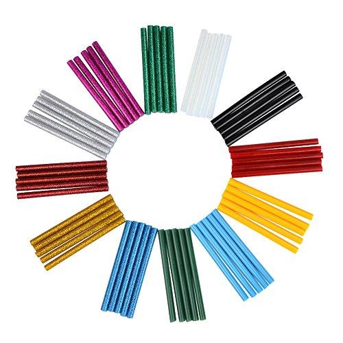 TIMESETL 60pcs Glue Sticks Bulk 0.28x4-inch, 30pcs Glitter Glue Sticks + 25pcs Colored Glue Sticks + 5pcs Clear Glue Gun Sticks with Zipper Pouch for DIY Craft Projects