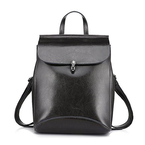 backpack split leather backpack school bag for girls teenagers vintage backpack large travel female shoulder bag Dark Grey 17 Inches