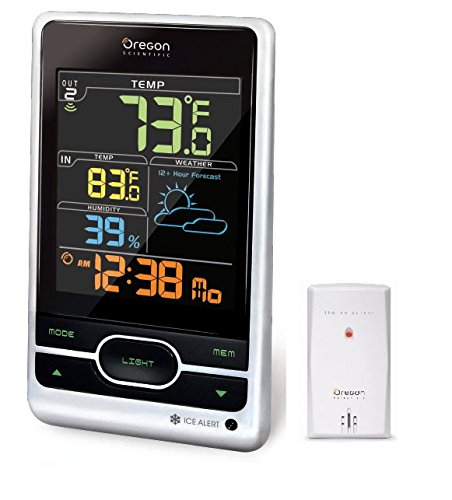 - Oregon Scientific Wireless Weather Station Featuring Temperature Forecast Atomic Clock Ice Alert Calendar Humidity - Color Display - Silver