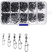 Amagogo 210 Pieces Stainless Steel Fishing Hook Cord Connector Barrel Swivel Carabiner