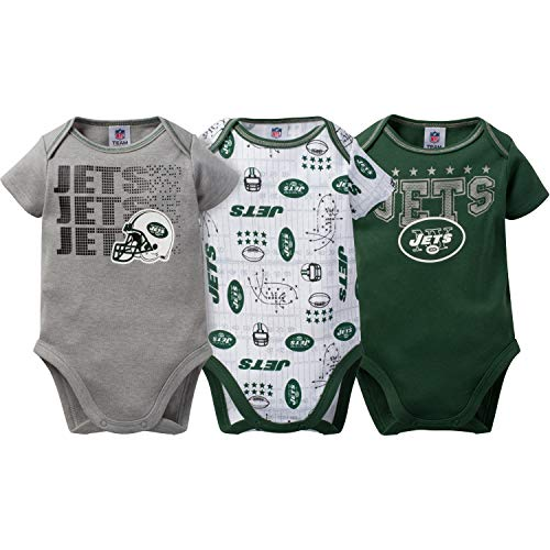 (NFL New York Jets Unisex-Baby 3-Pack Short Sleeve Bodysuits, Green, 18 Months )